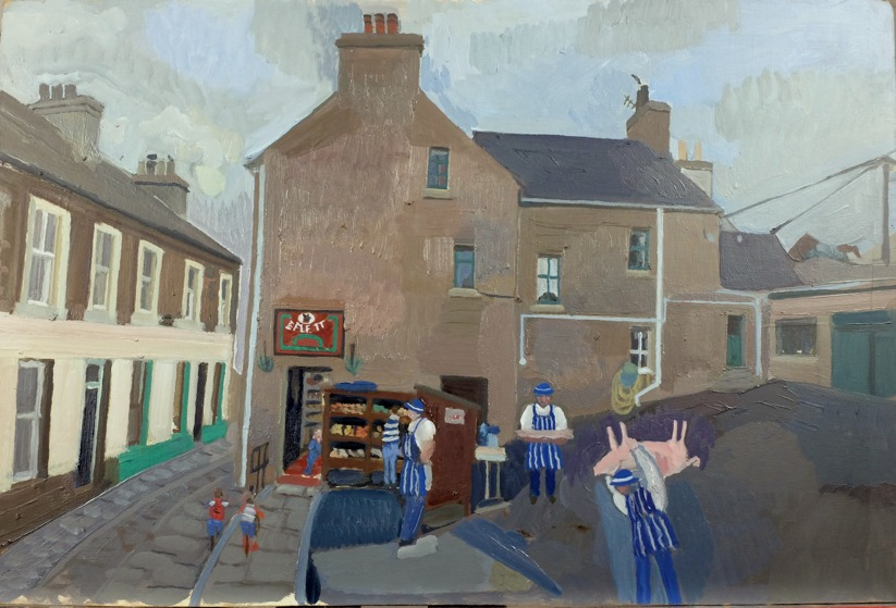 Painting of E Flett's butcher shop by local artist Diana Leslie.